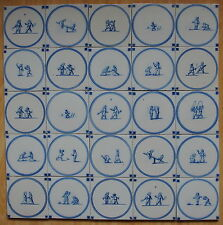 "25 ANTIQUE DUTCH DELFT TILES ""CHILDREN'S GAMES"" (c.1900)"