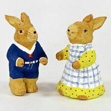 "Primitive Folk Art Paper Mache BOY & GIRL RABBIT 4"" Figurine Set 2Pc Bunny"