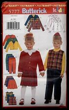 Childrens / Girls Jacket & Vest Blouse Skirt & Pants Butterick 5777 Size 6 7 8