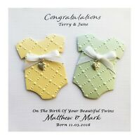 Personalised NEW BABY Twins Card Handmade