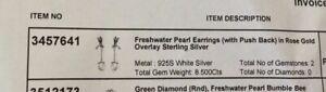Sterling Silver & Freshwater Pearl Swallow/Bird Drop Earrings - Rose Gold O/L