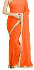 Bollywood Designer Party Wear Orange Color Pearl Border Work Designer Saree