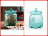 The Pioneer Woman Adeline Glass Cookie Food Storage Jar With Lid Clear Turquoise