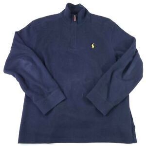 POLO Ralph Lauren Mens 1/4 Zip Sweater Blue Long Sleeve Pullover Size Large