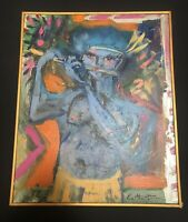 Untitled Acrylic Painting Signed E. Martin '98 Framed 17x21 Ramtha Blue Body