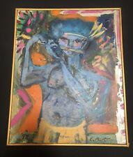 Untitled Oil Painting Signed E. Martin '98 Framed 17x21 Ramtha Blue Body Shiva