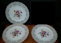 3 Vintage Canonsburg China CAN25 Pattern Dessert/ Pie Plates  22 KT 7 1/2""
