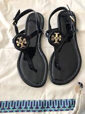 Tory Burch Women's Black Dillan Soft Patent Leather Thong Sandals 5.5 M