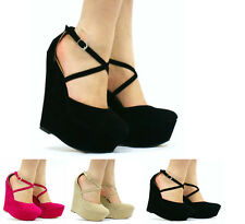 NEW WOMENS LADIES STRAPPY FAUX SUEDE PLATFORM HIGH WEDGE SHOES SIZE 3 4 5 6 7 8