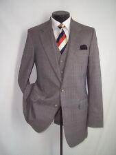 """3 Piece Austin Manor Beige Plaid Wool 2 Buttons Suit 40 R~Pants 34""""W x 30.5""""L"""