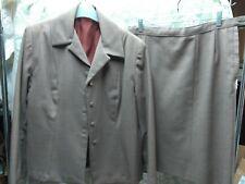 Vintage '40'S-'50& #039;S Tailored Wool Skirt Suit Sz 14 Light Brown/Orange Plaid
