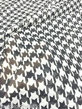 "Ivory Black Print Houndstooth Chiffon Fabric 60""W BTY Drape Craft Tablecloth"