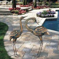 Copper Patina Crane Metal Garden Yard Art Lawn Bird Sculpture Heron Statue