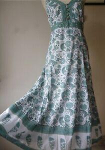 East Artisan anokhi Indian Block Print Cotton midi/Maxi Dress Sequins,Hippy boho
