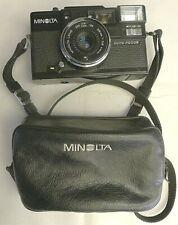 Minolta Hi-Matic AF-D Autofocus 35mm Camera +Leather Case & Strap -TESTED A17
