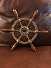 Antique Nautical Brass & Wood Boat Wheel