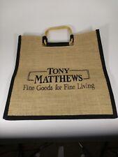 Tony Matthews  BOHEMIAN ROPE JUTE Burlap W/Bamboo Handles Tote Bag Tan & Black