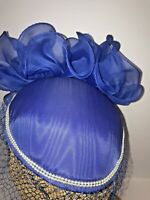 Sonni Womens Catlot Juliet Cap Hat Blue Netting Pearls Poly Pouf Straw One Size