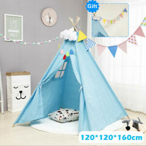 Children's Tent Teepee Tent Large Canvas Kids Wigwam In/Outdoor Play House Gift