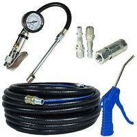 15m Air line / hose with Tyre Wheel Inflator, Blow Gun And Air Fittings Access