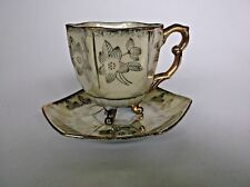 Vintage Footed Tea Cup and Saucer Orion Japan Gold Gilt Yellow Luster Demitasse