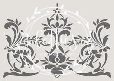 A5 STENCIL FLORAL SCROLL FLOURISH ❤ Furniture Fabric French Vintage Shabby Chic