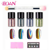 BQAN 4 Colors Nail Holographic Laser Glitter Powder & Double-ended Sponge Brush