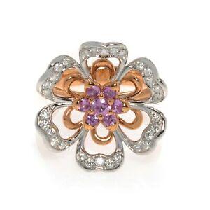 Luca Carati 18k Rose & White Gold Diamond Pink Sapphire Cocktail Ring Size 7.5