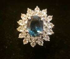 Lab Created Sapphire and Crystal. Ring Size 6.5. Pre-owned.