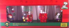 Peanuts Holiday Pint Glass 4 Pack Snoopy Charlie Brown Lucy Christmas Set NEW
