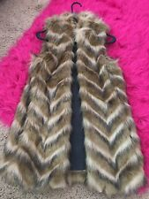 Express Long Faux Fur Vest-Size S
