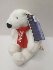 "Coca Cola Polar Bear Red White Scarf Black Nose Plush 7"" Toy Lovey 2007"