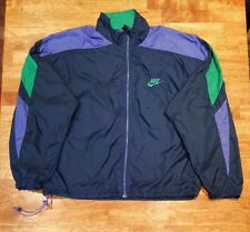 Vtg 90's Nike Windbreaker Jacket Colorblock Black Label Full Zip Nylon, Sz L Men