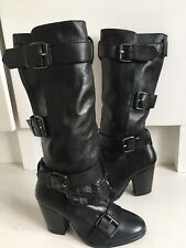 New Bertie Black Leather Heeled Biker Strap Mid Calf Boots 3 36