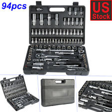 94 Pcs Hand Torque Ratchet Wrench Tool Set Metric Socket Bits Kit with Case Usa