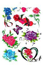 Temporay Körper Schmuck Tattoo Einmal Tatoo Tätowierung Bodyart Herz Rosen