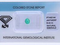 natürlicher 0,43 Karat Smaragd Oval IGI Expertise