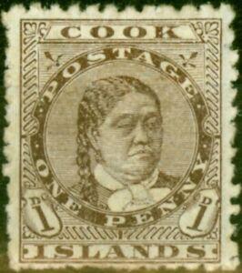Cook Islands 1893 1d Brown SG5 Fine Mtd Mint