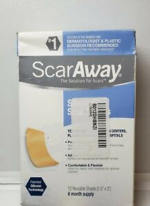 "Scar Away Plastic Surgeon Recommended 12 Reusable Sheets 1.5""x3""  6 Month Supply"