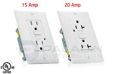 15A / 20A AMP GFCI GFI Safety Outlet Receptacle w/ Wall Plate - White, UL Listed