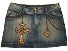Kippys Womens M Skirt Jean Denim Mini Studded Swarovski Crystal MSRP $325 Rare