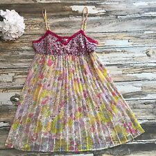 Liberty of London Tank Top Womens XL Floral Accordion Pleats Boho Sheer Festival
