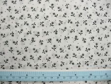 "Tiny Black Daisy on White with Micro Dot Fabric,  60"" BTY"