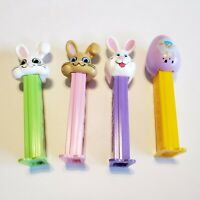 PEZ Easter Bunny Spring Rabbit Colored Egg Lot of 4
