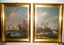 """PRETTY VTG 1950s OLD COUNTRY PAIR ITALIAN 8"""" X 6"""" PAINTINGS GOLD FRAME OIL/BOARD"""
