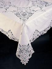 """Battenburg Lace Tablecloth, Cotton, 72 x 126"""", Oblong, 12 Napkins, White"""
