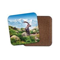 Alpine Ibex Coaster - Mont Blanc France Alps Goat Fun Mountains Cool Gift #16280
