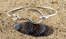 Sterling Silver Fish Hook Bracelet with 14K Gold Twisted Wrap from Camden Maine