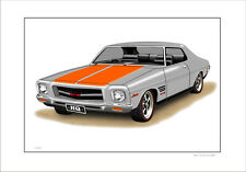 HOLDEN HQ  GTS  MONARO COUPE  LIMITED EDITION CAR DRAWING PRINT (10 CAR COLOURS)