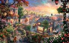 """STUNNING LADY & THE TRAMP DISNEY PAINTING CANVAS PICTURE WALL ART medium 20x30"""""""
